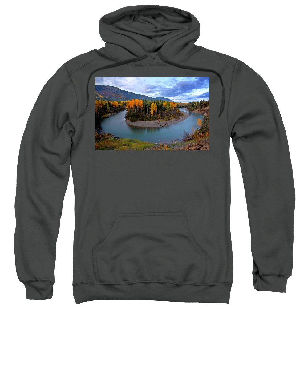 River Sweatshirt featuring the digital art Autumn Colors Along Tanzilla River In Northern British Columbia by Mark Duffy