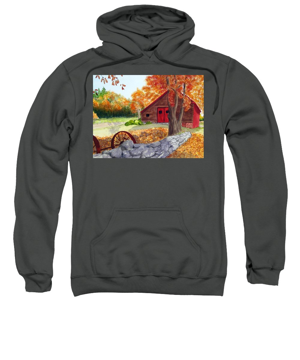 Barn Sweatshirt featuring the painting Autumn Day by Julia RIETZ