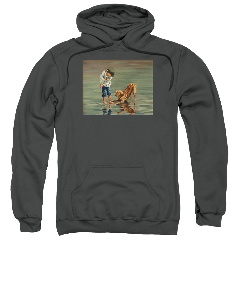 Girl Kid Child Figurative Dog Sea Reflection Playing Water Beach Sweatshirt featuring the painting Autumn Eve by Natalia Tejera