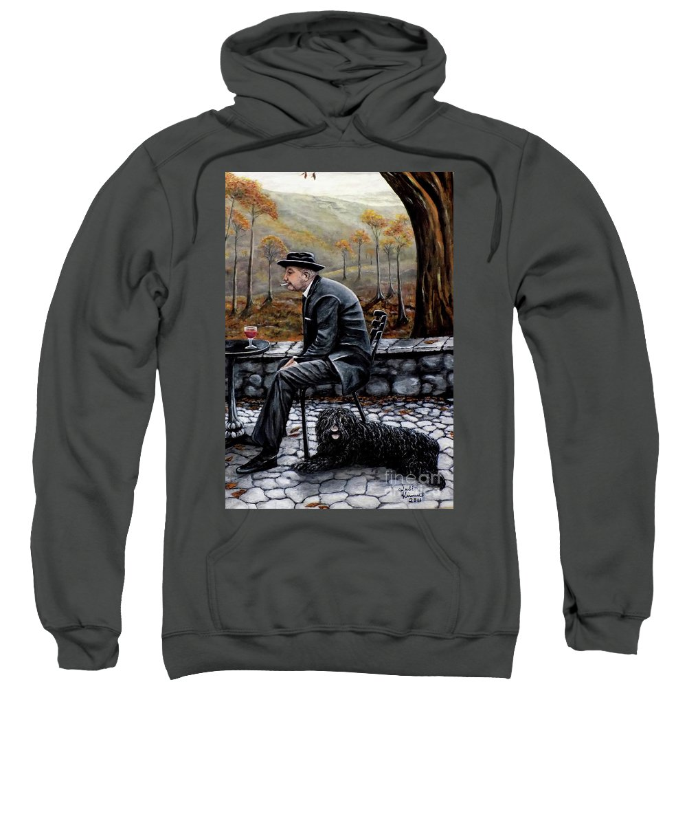 Autumn Sweatshirt featuring the painting Autumn Friends by Judy Kirouac