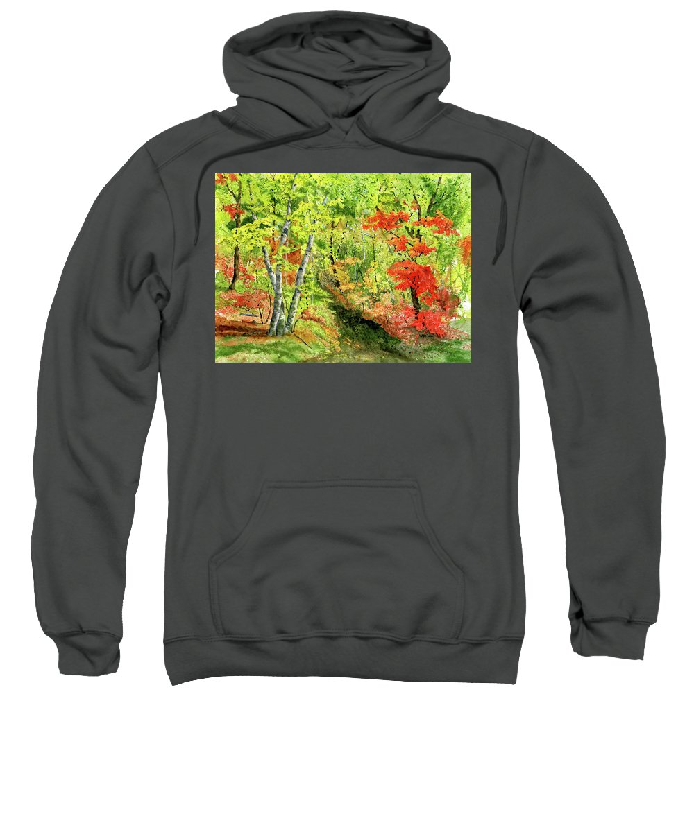 Autumn Sweatshirt featuring the painting Autumn Fun by Mary Tuomi