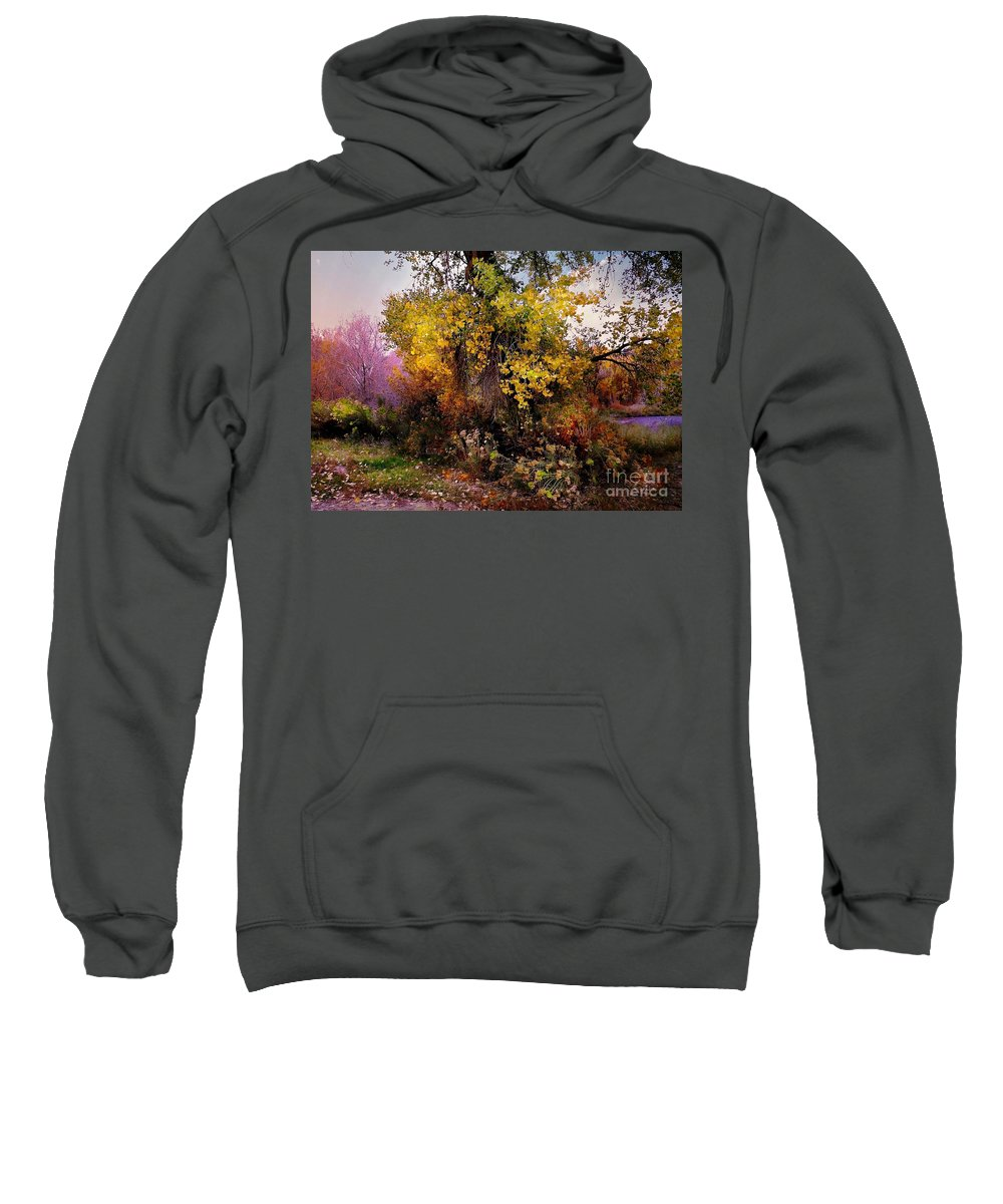 Yellows Sweatshirt featuring the digital art Autumn Glory by Annie Gibbons
