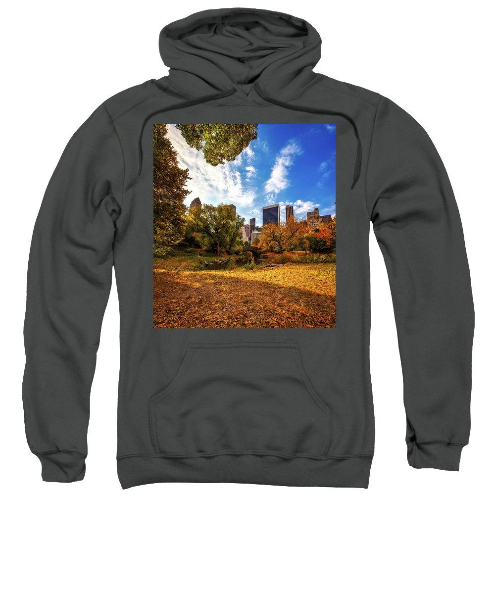 New York City Sweatshirt featuring the photograph Autumn In Central Park by Laith Abdulkareem