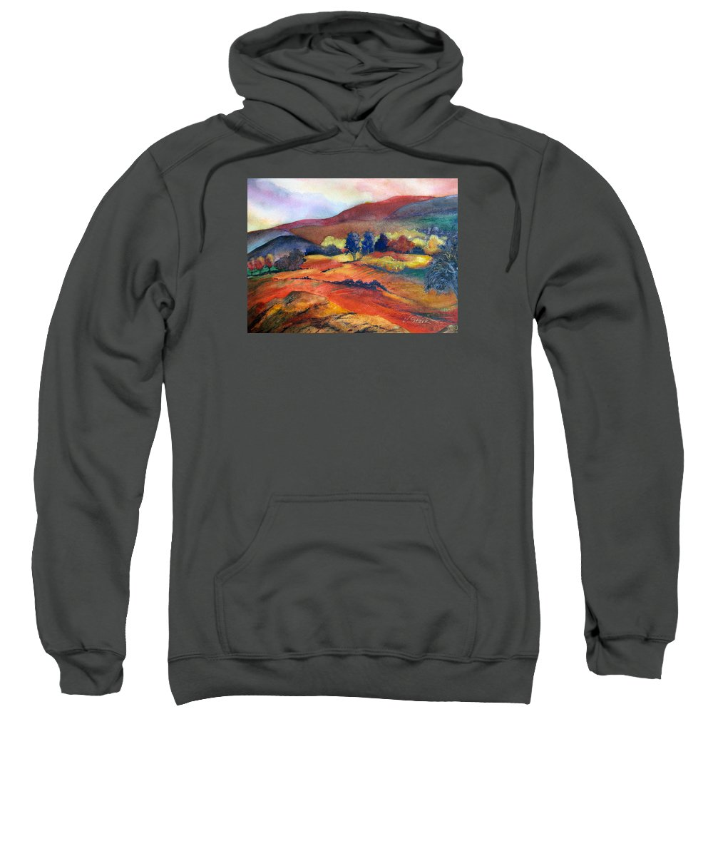 Landscape Sweatshirt featuring the painting Autumn In The Country by Karen Stark