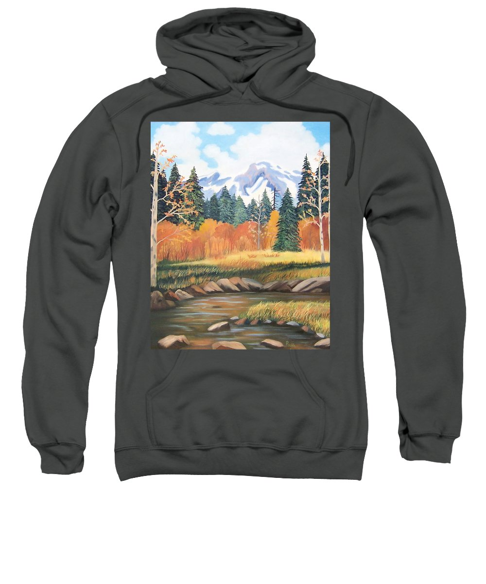 Landscape Sweatshirt featuring the painting Autumn In The Mountans by Ruth Housley
