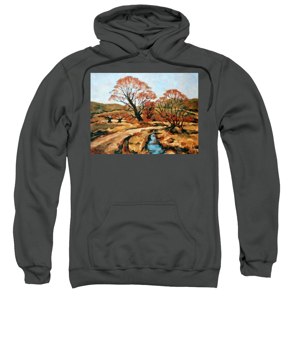 Landscape Sweatshirt featuring the painting Autumn Landscape by Iliyan Bozhanov