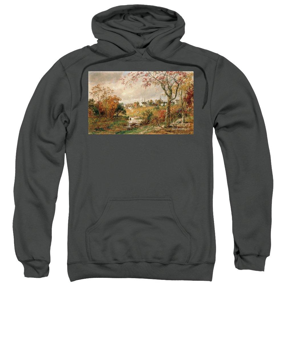 Autumn Landscape Sweatshirt featuring the painting Autumn Landscape by Jasper Francis Cropsey