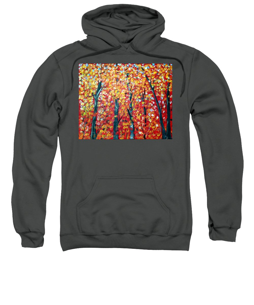 Landscape Sweatshirt featuring the painting Autumn by Luiza Vizoli
