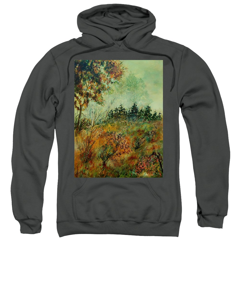 Tree Sweatshirt featuring the painting Autumn Mist 68 by Pol Ledent
