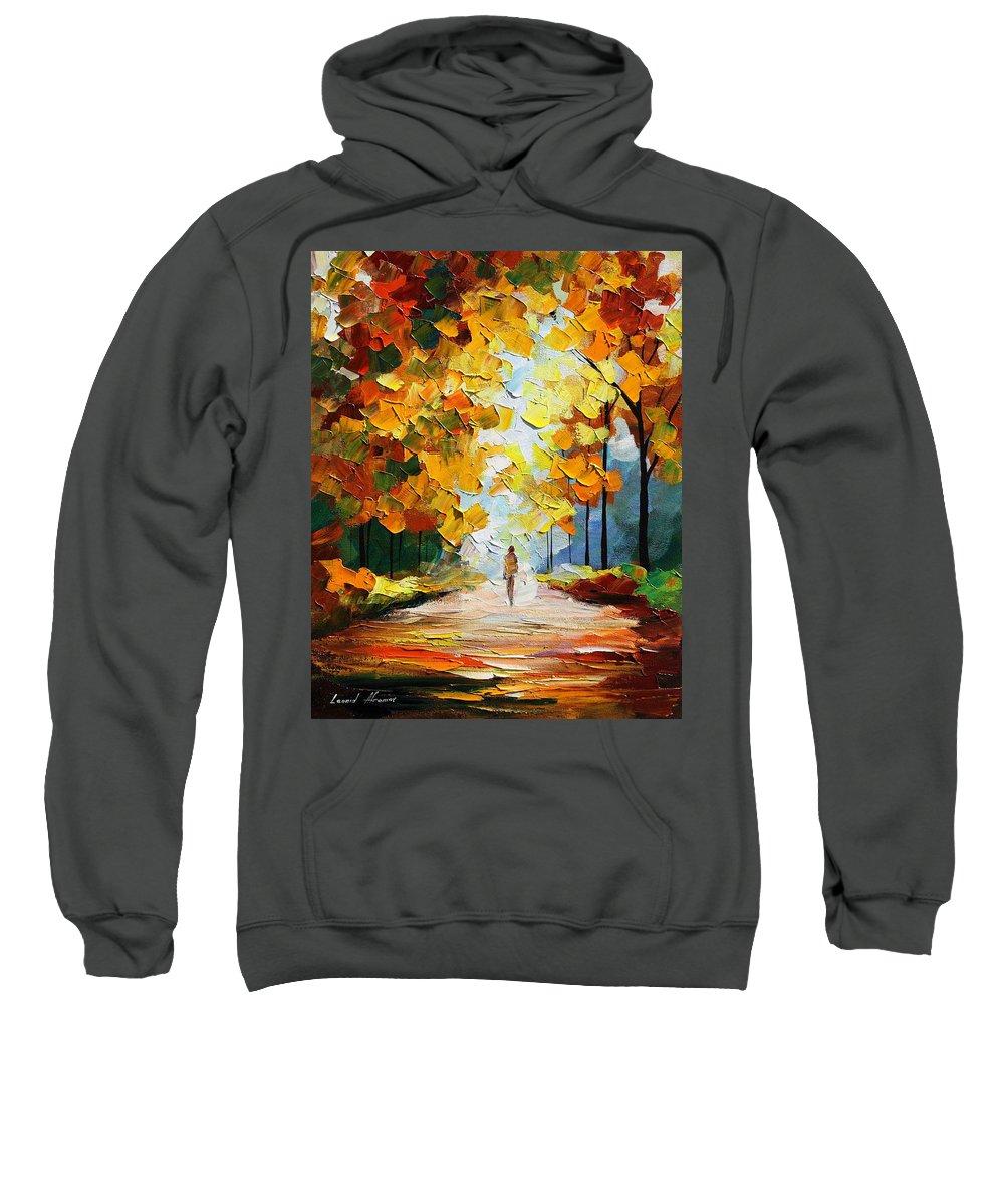 Landscape Sweatshirt featuring the painting Autumn Mood by Leonid Afremov