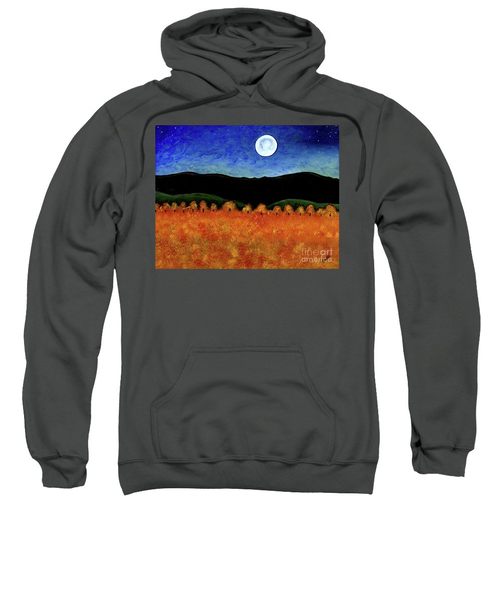 Country Sweatshirt featuring the painting Autumn Moon I by Brian Wayne Bingham