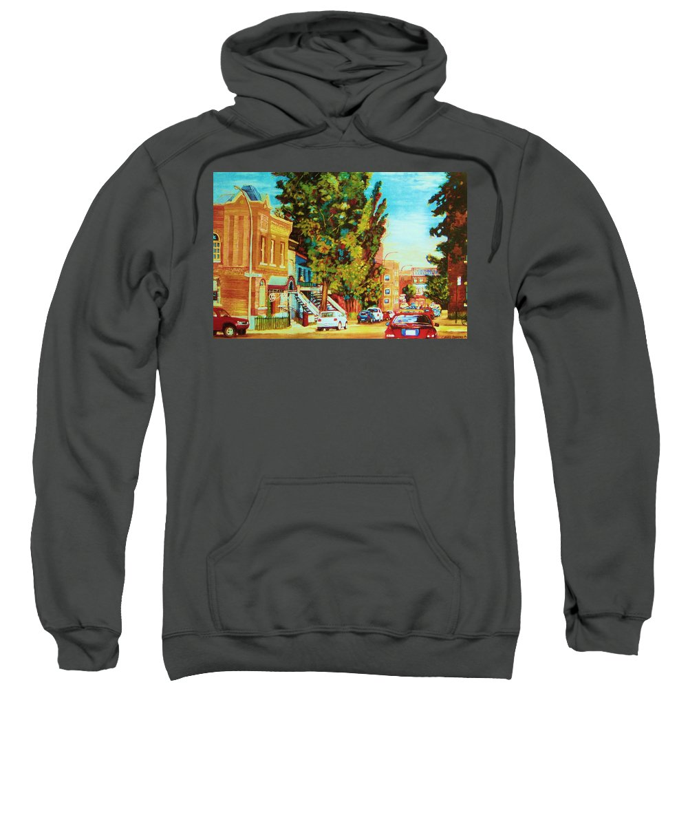Bagg Street Synagogue Rue Bagg And Clark Sweatshirt featuring the painting Autumn On Bagg Street by Carole Spandau