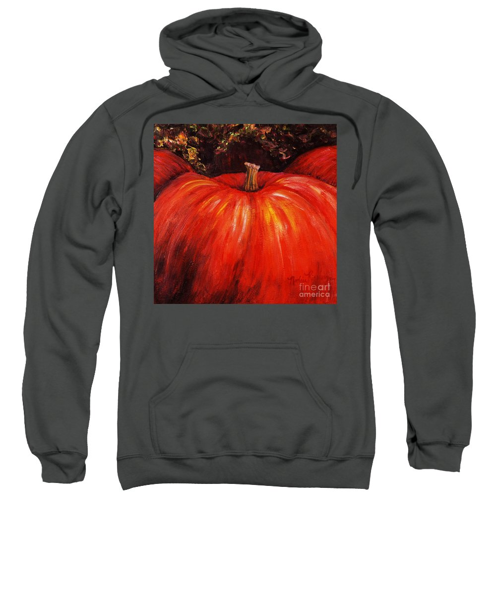 Orange Sweatshirt featuring the painting Autumn Pumpkins by Nadine Rippelmeyer