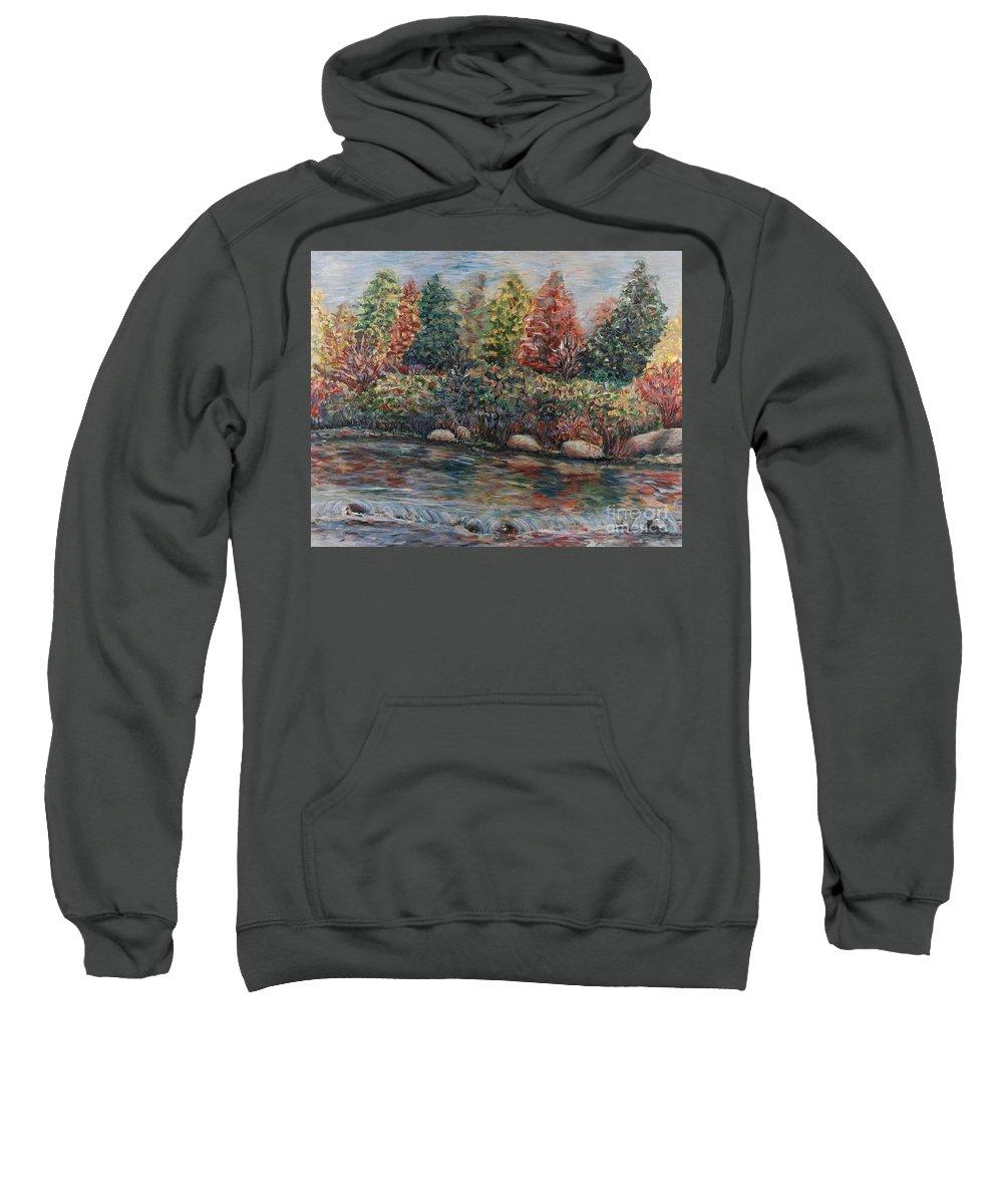 Autumn Sweatshirt featuring the painting Autumn Stream by Nadine Rippelmeyer