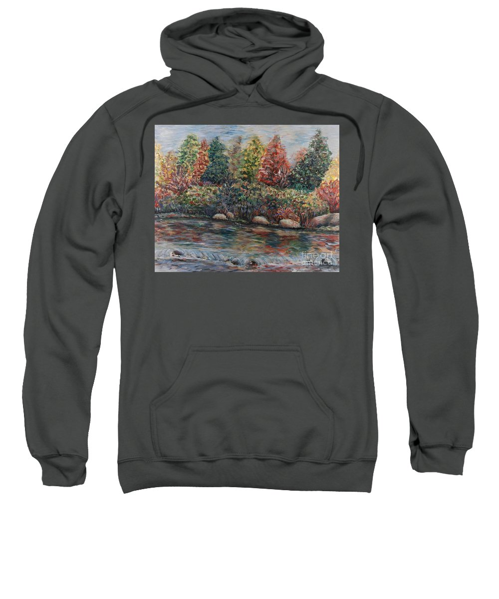 Autumn Sweatshirt featuring the painting Autumn Stream by Nadine Rippelmeyer