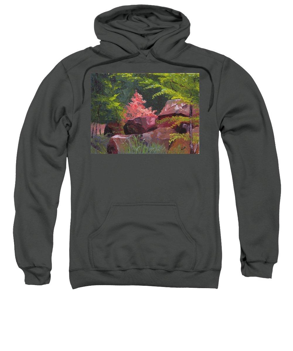 Azaleas Sweatshirt featuring the painting Azaleas - Sun And Shadow by Lea Novak