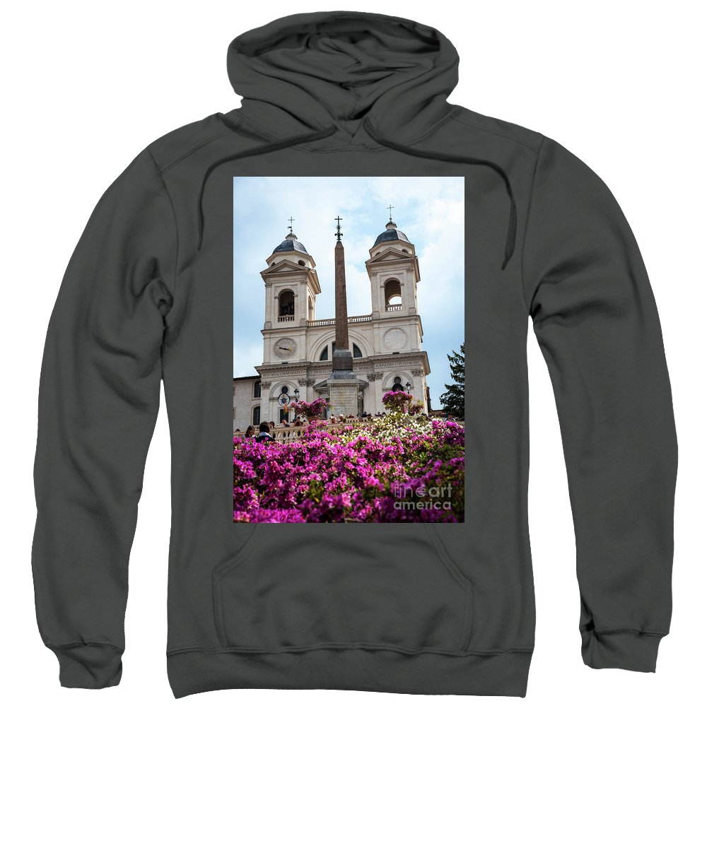 St Maria Sweatshirt featuring the photograph Azaleas On The Spanish Steps In Rome by Brenda Kean