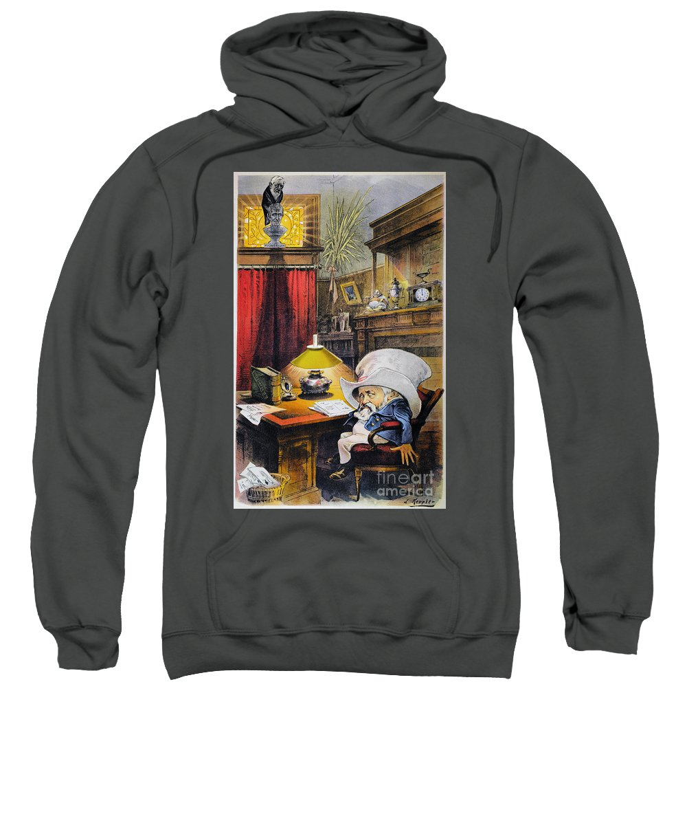 1892 Sweatshirt featuring the photograph B. Harrison Cartoon, 1892 by Granger