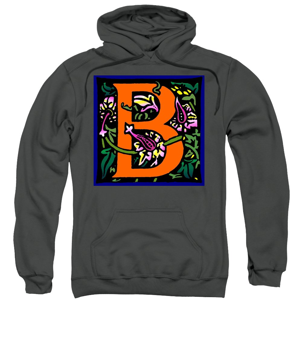 Alphabet Sweatshirt featuring the digital art B In Orange by Kathleen Sepulveda