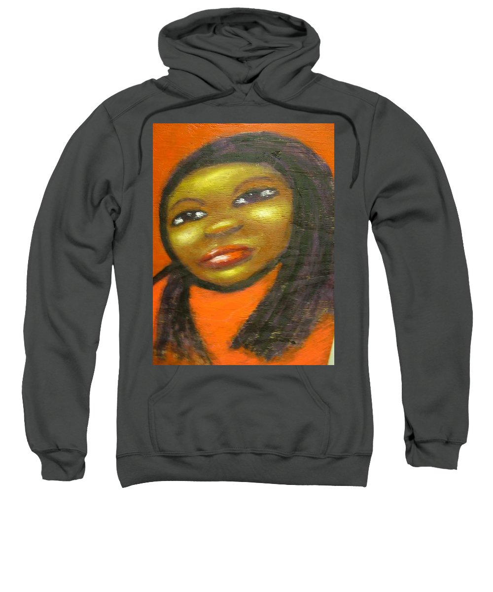 Lady In A Red Dress Sweatshirt featuring the painting B by Jan Gilmore