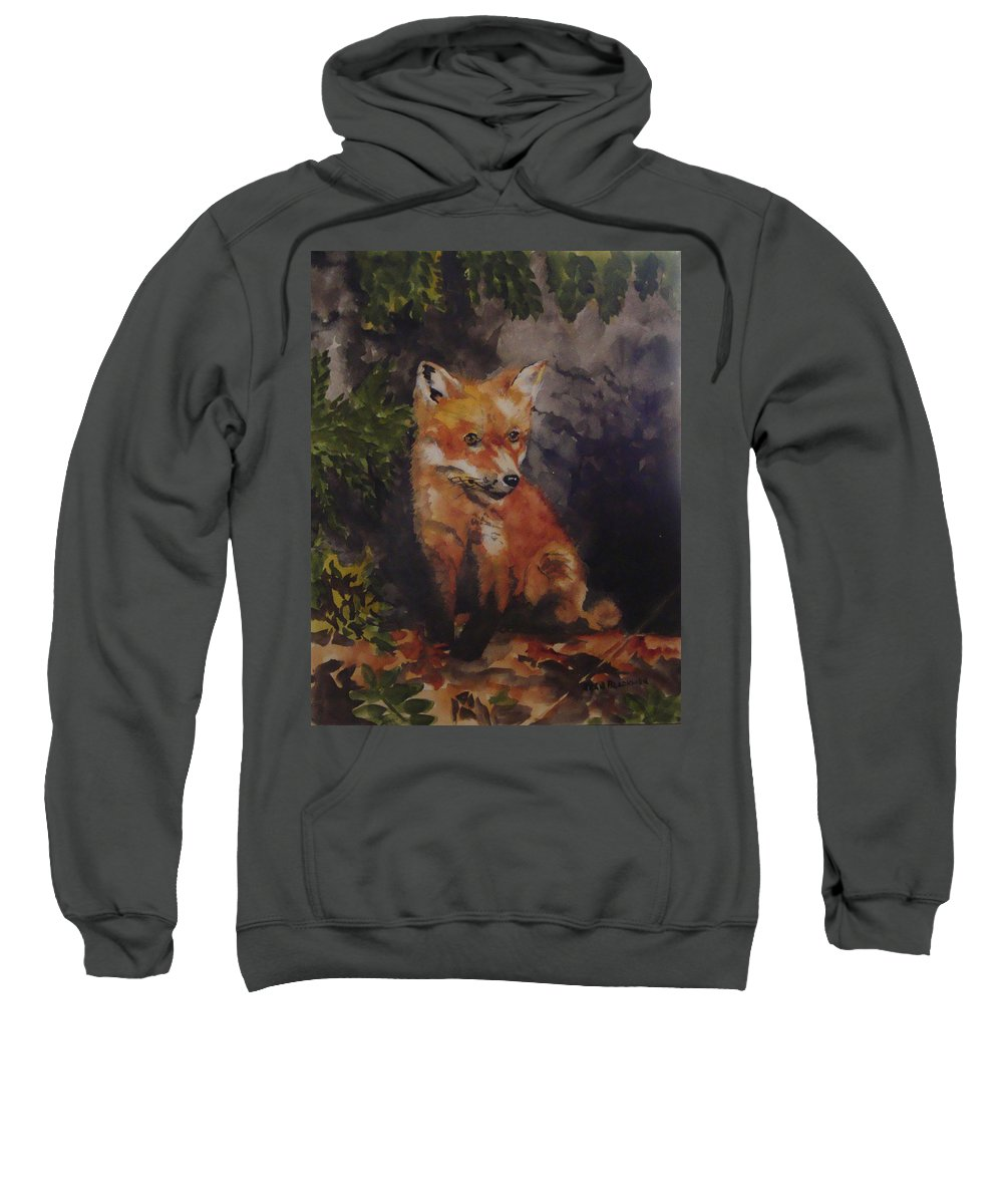 Fox Sweatshirt featuring the painting Babe In The Woods by Jean Blackmer