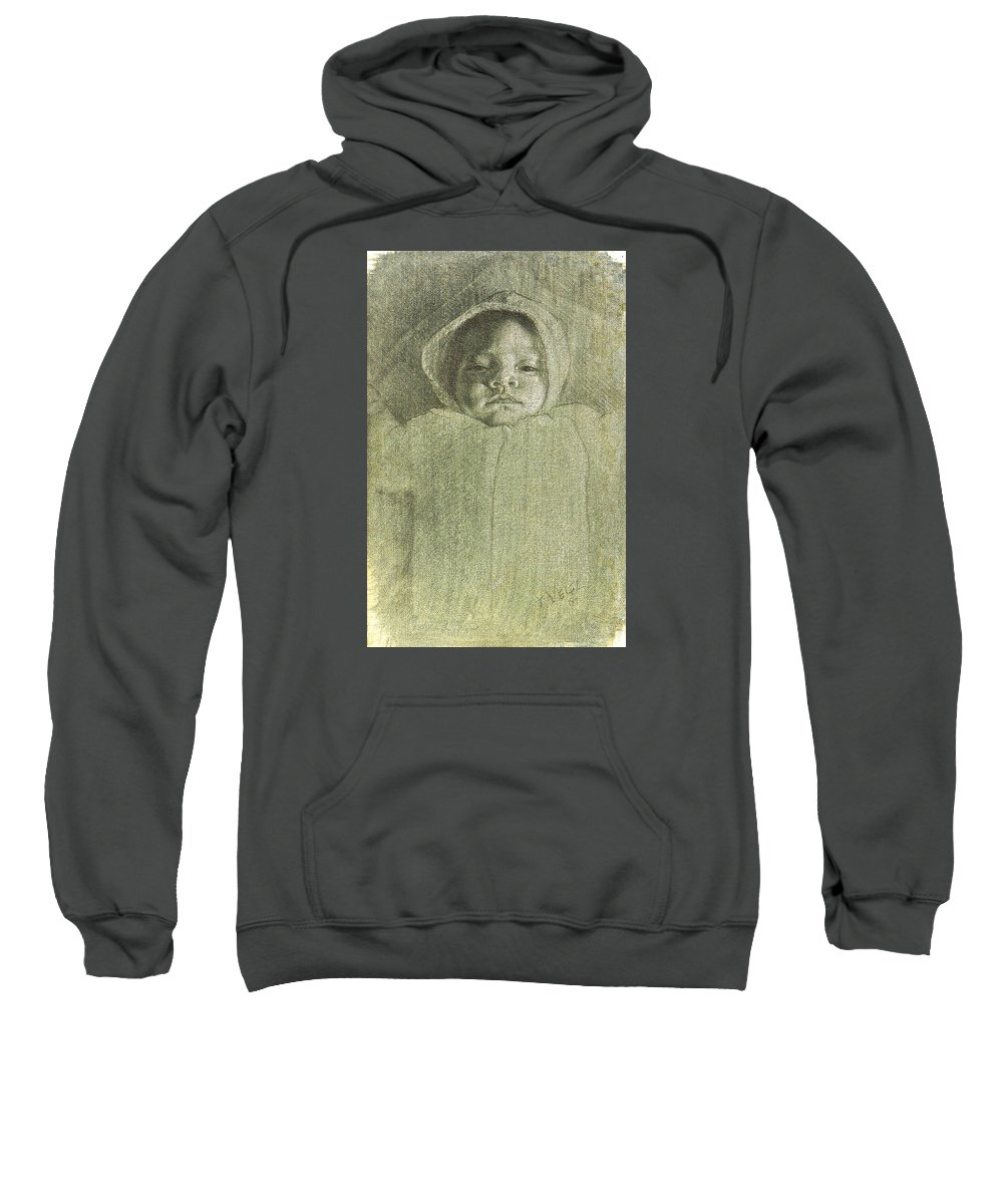 Sweatshirt featuring the painting Baby Self Portrait by Joe Velez
