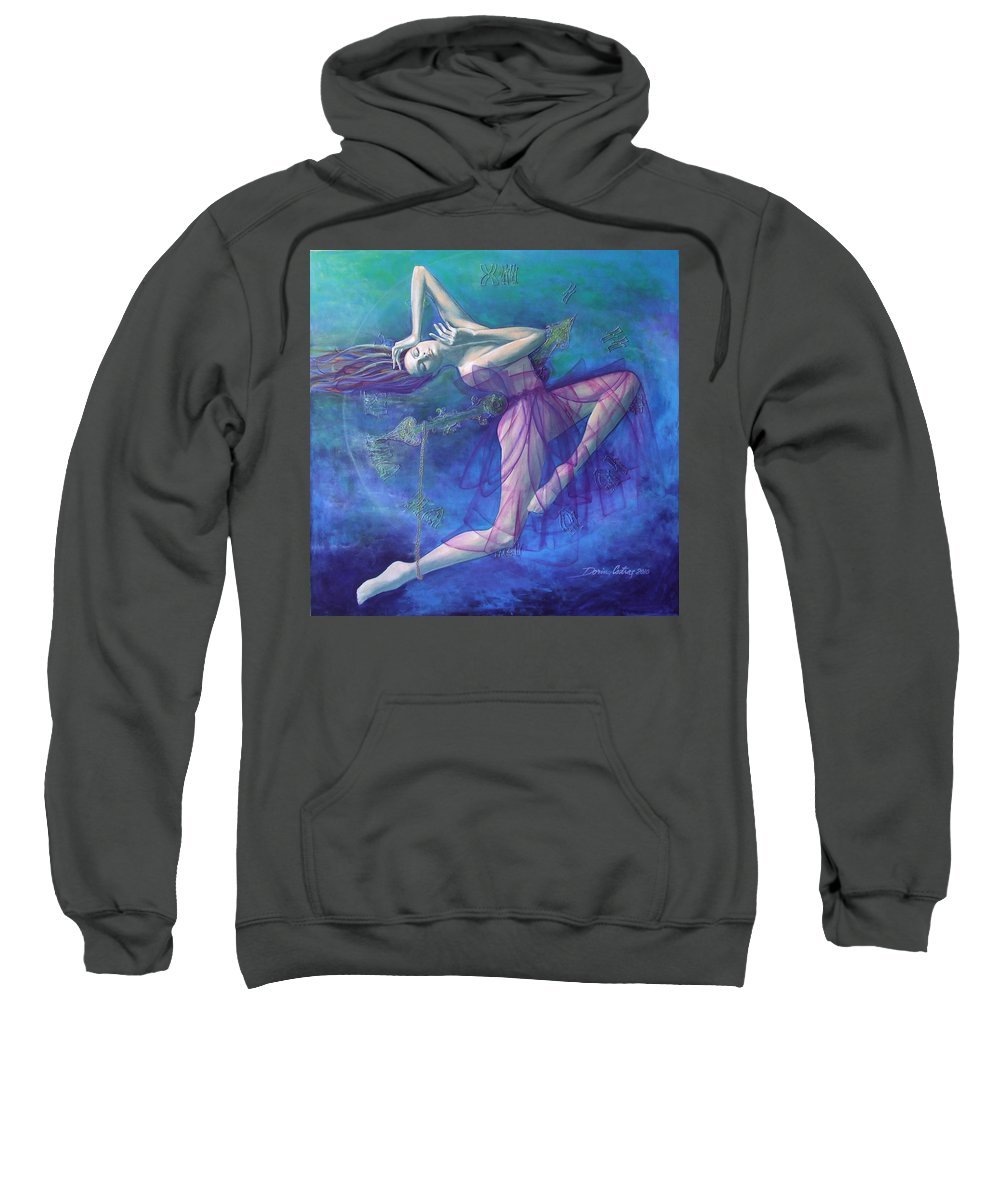 Art Sweatshirt featuring the painting Back In Time by Dorina Costras