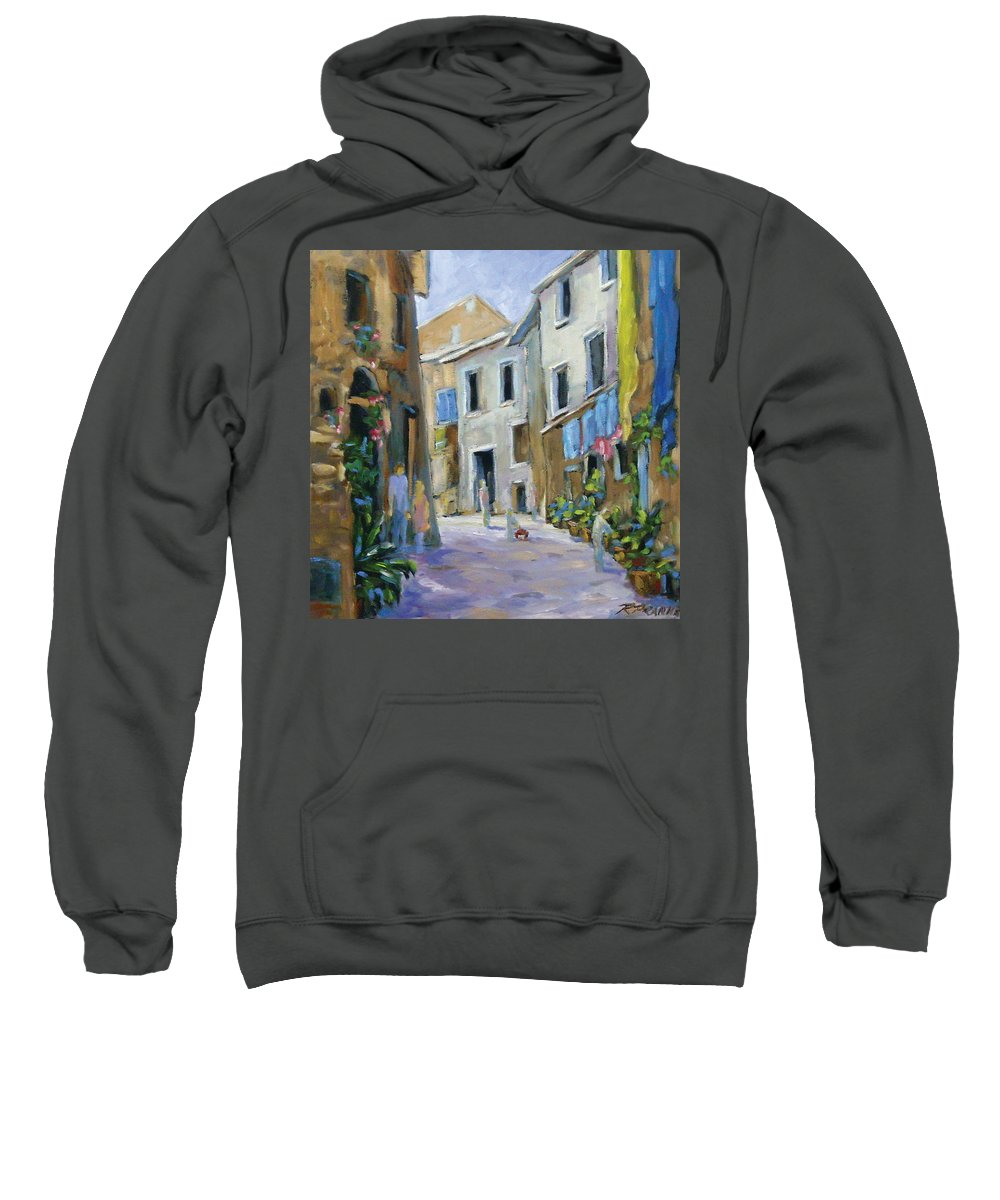 Urban Sweatshirt featuring the painting Back Street by Richard T Pranke