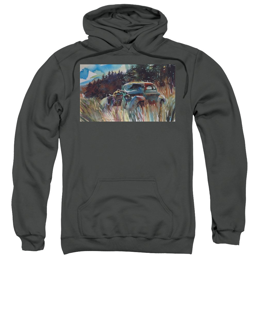 37 Plymouth Sweatshirt featuring the painting Back To Earth by Ron Morrison