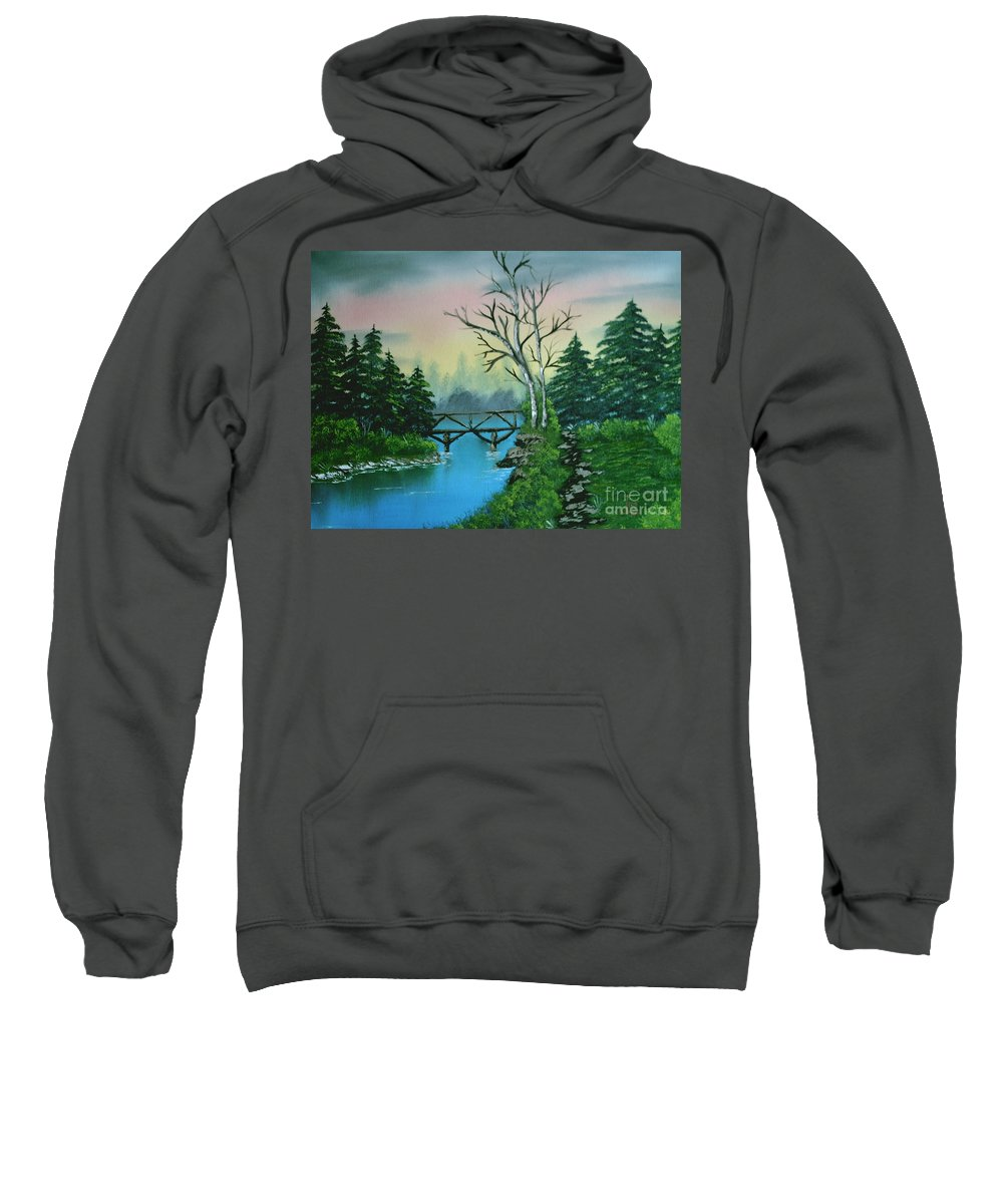 Landscape Sweatshirt featuring the painting Back Woods Bridge by Jim Saltis
