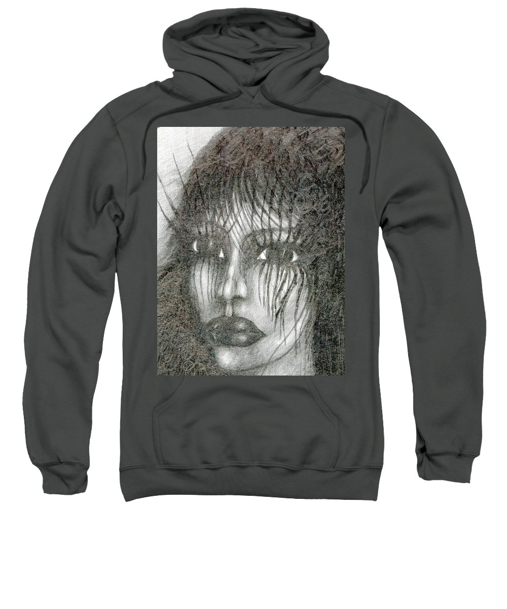 Psychedelic Sweatshirt featuring the drawing Bad Glance by Wojtek Kowalski