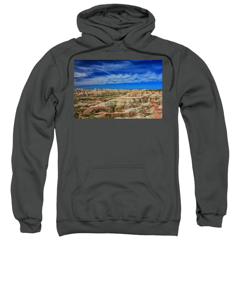 Badlands Sweatshirt featuring the photograph Badlands 12 by Ingrid Smith-Johnsen