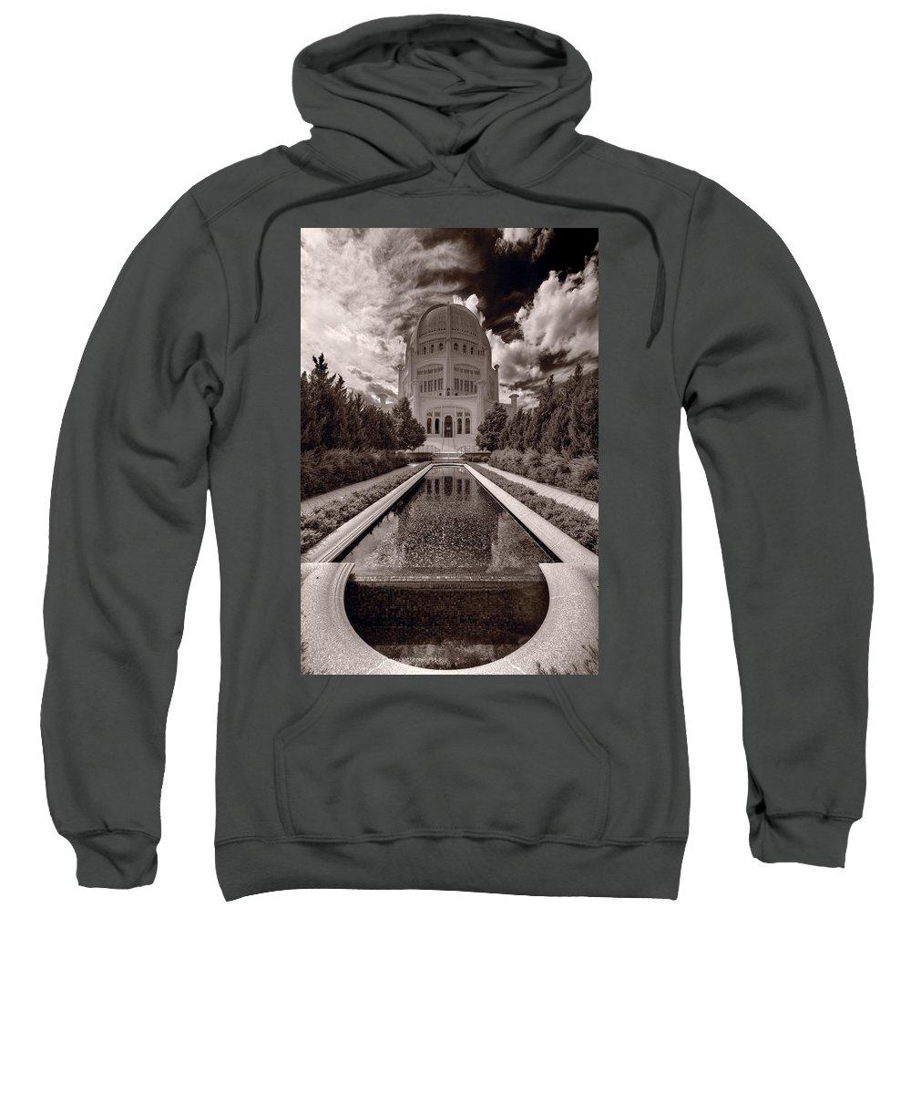 Bahai Sweatshirt featuring the photograph Bahai Temple Reflecting Pool by Steve Gadomski
