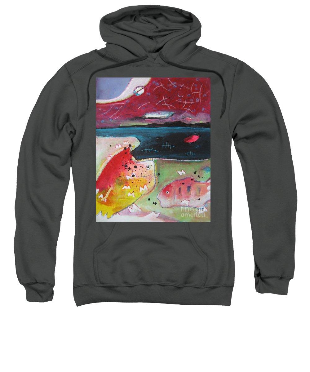 Acrylic Paintings Sweatshirt featuring the painting Baieverte by Seon-Jeong Kim