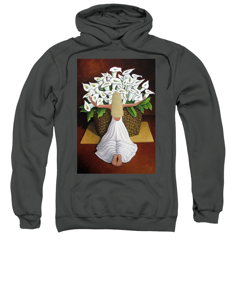 Garden Sweatshirt featuring the painting Baileyrae Lilies by Lance Headlee