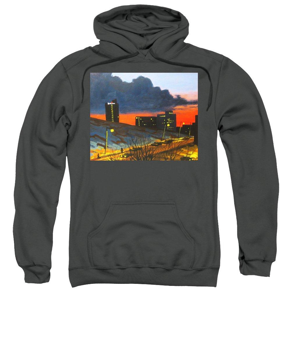 Sunset Sweatshirt featuring the painting Balcony View 2 by John Malone