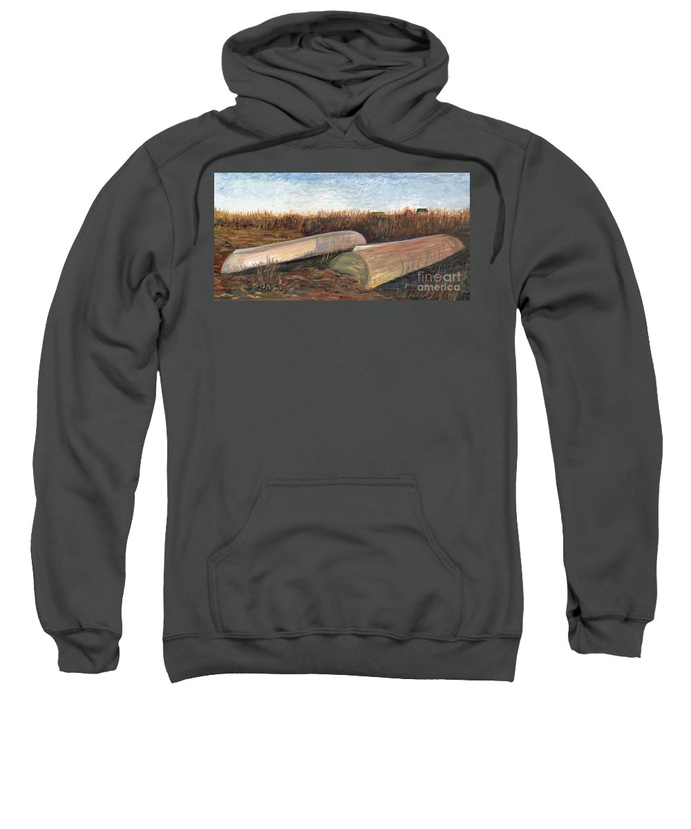 Boat Sweatshirt featuring the painting Bald Head Boats by Nadine Rippelmeyer