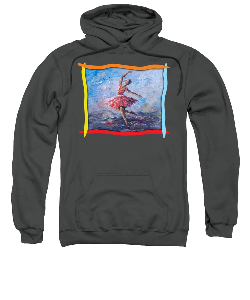 Girl Sweatshirt featuring the painting Ballet Dancer by Anthony Mwangi