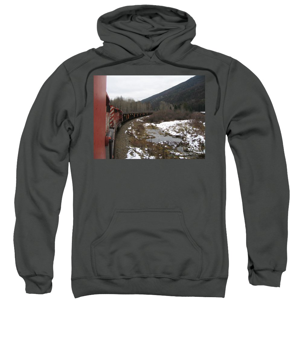 Photograph Train Mountain Snow Winter Tree Nature Sweatshirt featuring the photograph Ballast Train by Seon-Jeong Kim
