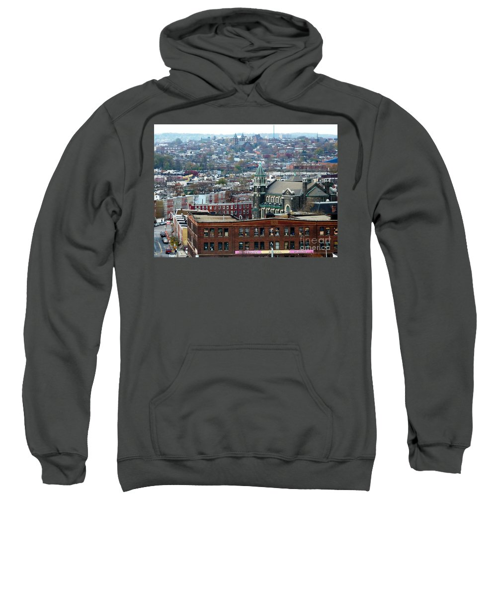 Cities Sweatshirt featuring the photograph Baltimore Rooftops by Carol Groenen