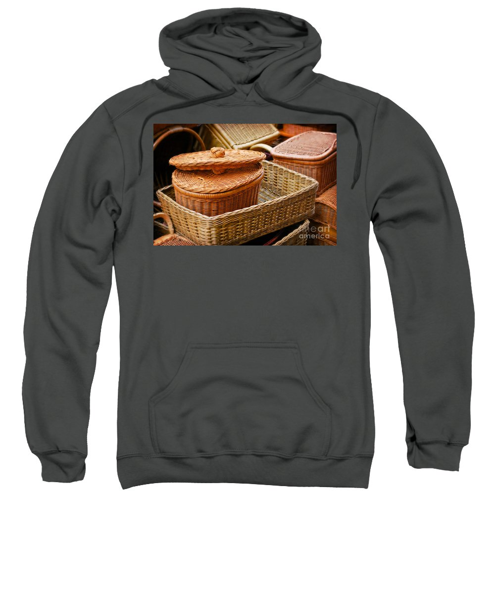 Bamboo Sweatshirt featuring the photograph Bamboo Baskets by Charuhas Images