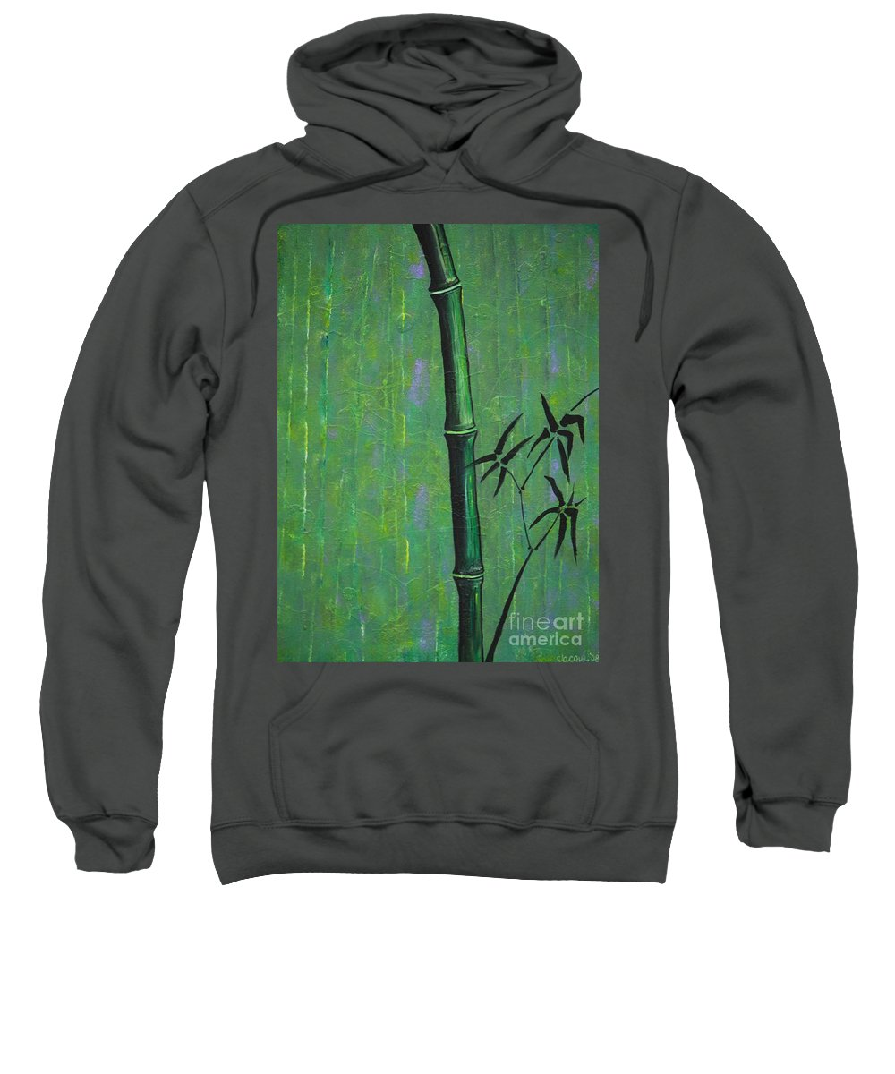 Bamboo Sweatshirt featuring the painting Bamboo by Jacqueline Athmann