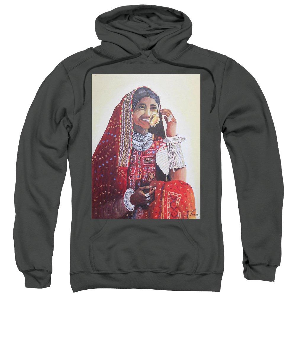 Banjaran With Traditional Attire Sweatshirt featuring the painting Banjaran With Traditional Attire by Sneha Choudhary