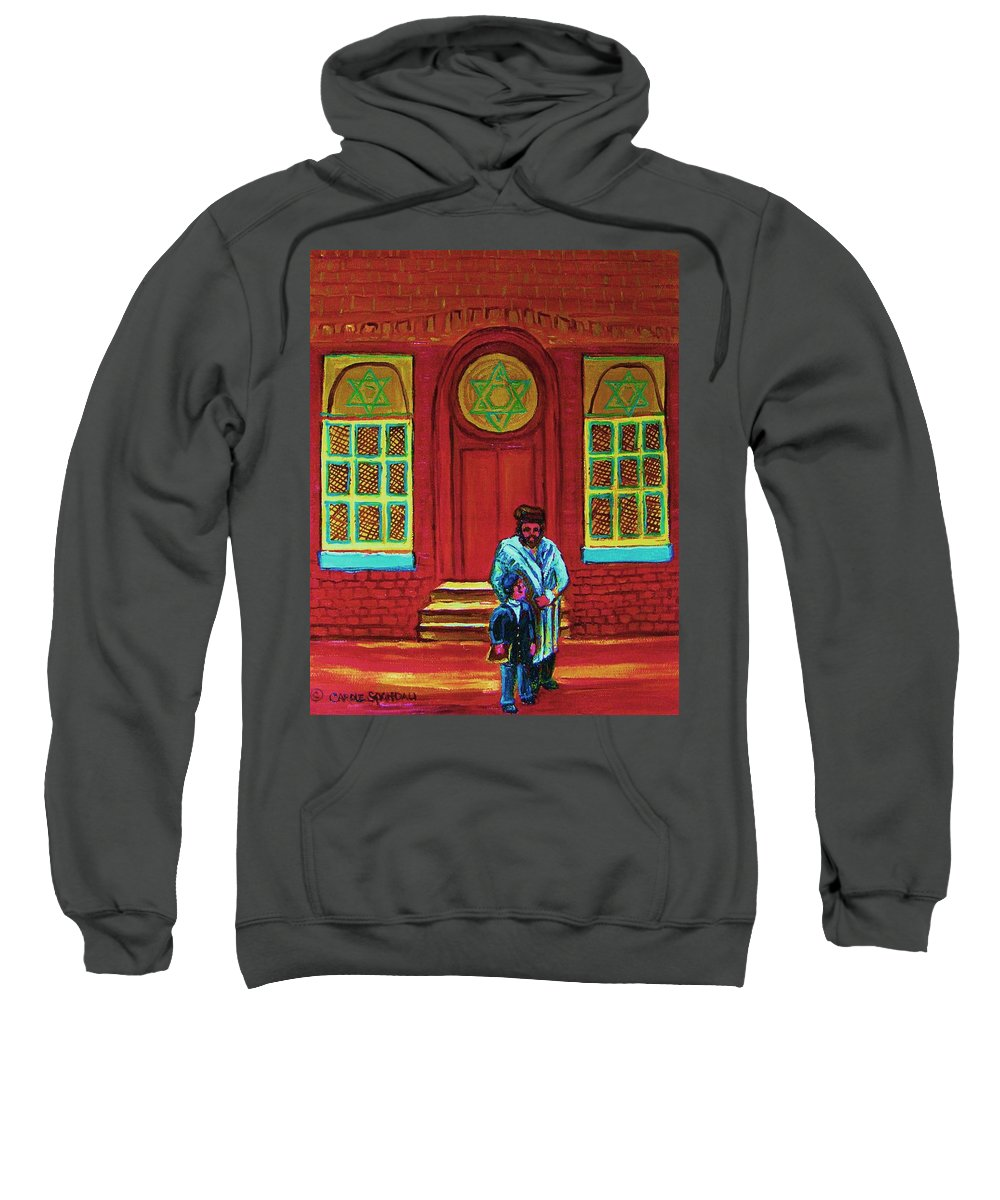 Synagogues Sweatshirt featuring the painting Bar Mitzvah Lesson At The Synagogue by Carole Spandau
