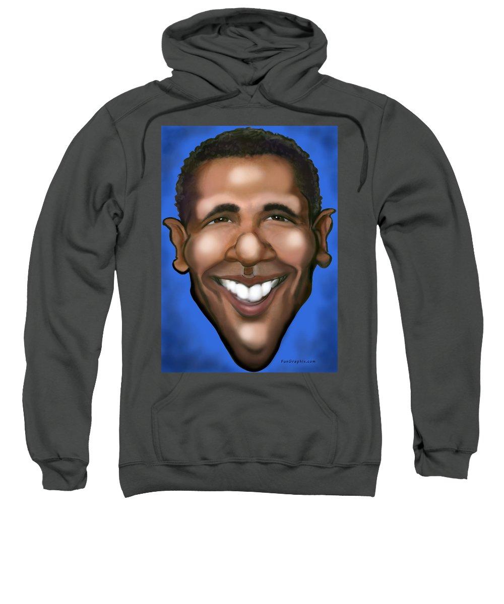 Barack Obama Sweatshirt featuring the painting Barack Obama by Kevin Middleton