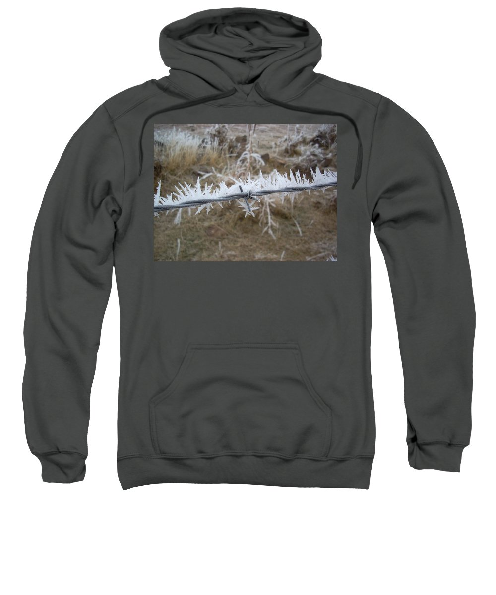Fence Sweatshirt featuring the photograph Barb Wire by Sara Stevenson