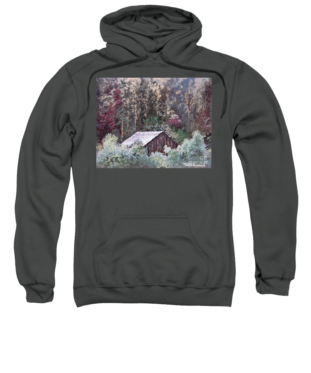 Landscape Sweatshirt featuring the painting Barn At Cades Cove by Todd Blanchard