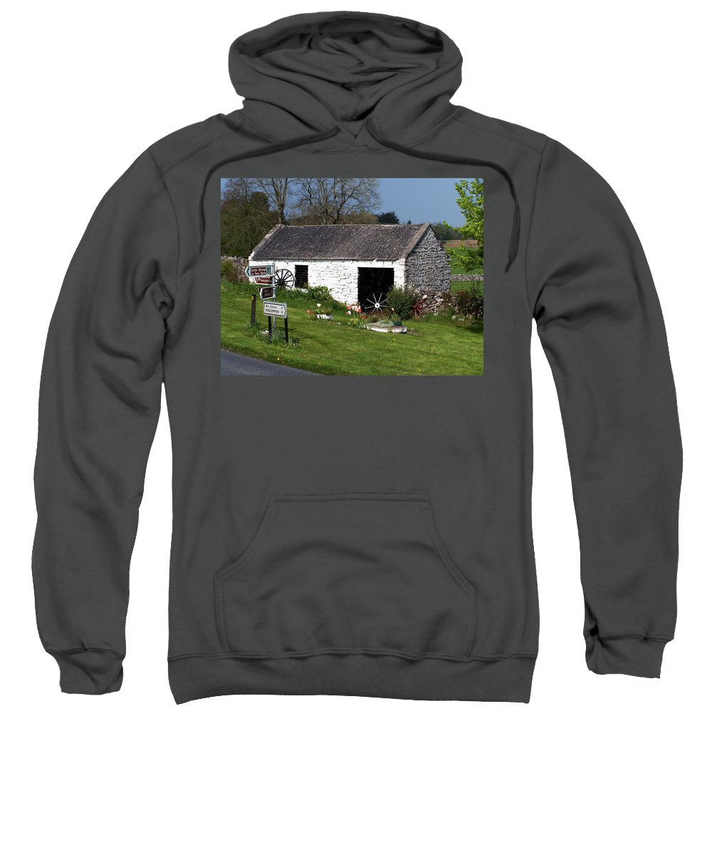 Ireland Sweatshirt featuring the photograph Barn At Fuerty Church Roscommon Ireland by Teresa Mucha