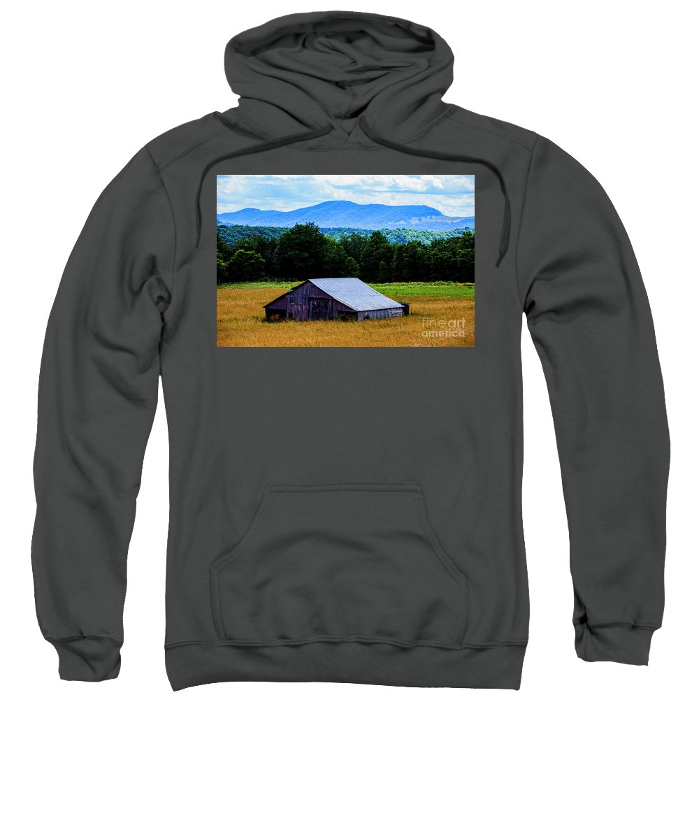 Barn Sweatshirt featuring the photograph Barn Below Trees And Mountains by Doug Berry