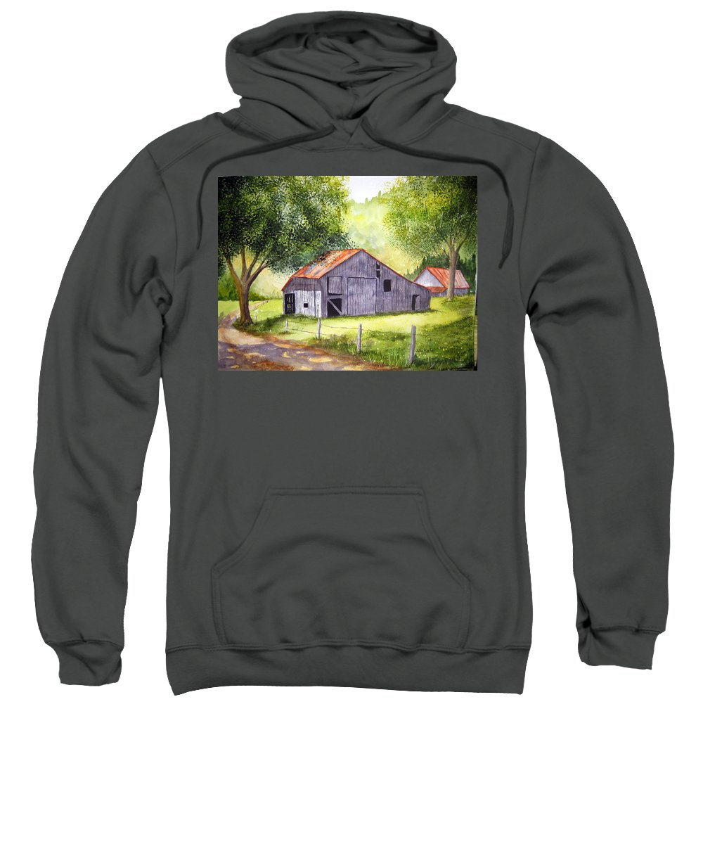 Nc Sweatshirt featuring the painting Barn By The Road by Julia Rietz